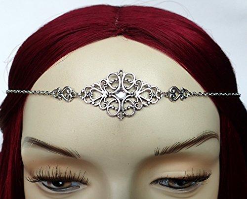 Crystal Clear Elven Silver Filigree Circlet (Medieval Circlet)