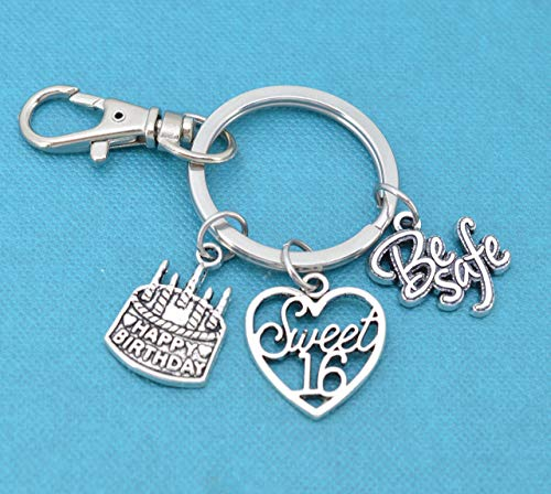 Sweet 16 keychain with birthday cake charm, sweet sixteen charm and Be Safe word charm. Sweet 16 gift. Sweet 16 -