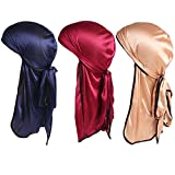 Super iMan 3PCS Silky Durag Extra Long-Tail and Wide Straps Headwraps Pirate Cap (Navy+Red+Gold)