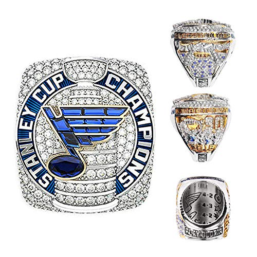 Blues 2019 Stanley-Cup Replica Championship Ring Championship Ring Collectible Gift Fashion Size 8-13 with A Wooden Box(10,Official) (Championship Rings Size 13)