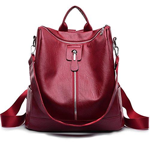 Unisex Classic Vegan Leather Backpack Oxford School Shoulder Bag Waterproof