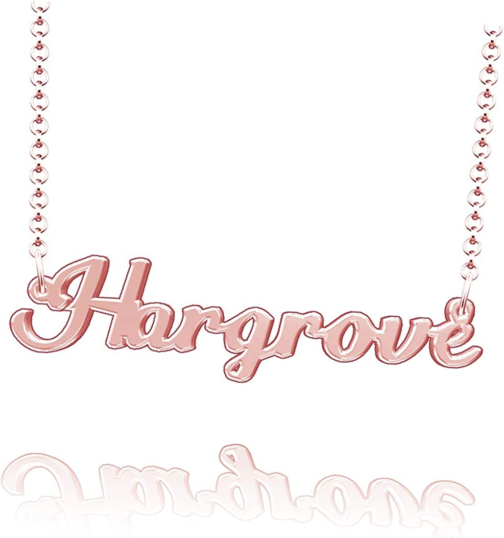 LoEnMe Jewelry Customized Hargrove Name Necklace Sterling Silver Plated Custom Made of Last Name Gift for Family