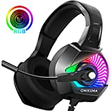ONIKUMA Gaming Headset-PS4 Headset with Mic, 7.1 Surround Sound& RGB LED Light, Gaming headphones with Noise Canceling Earpads, Soft Memory Earmuff for PS4, Xbox One, PC, Mac, Laptop, Nintendo Switch