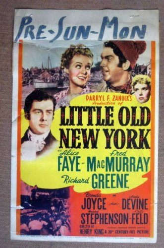 HE11 Little Old NY ALICE FAYE 1940 Midget Window Card. This is a lobby card NOT a video or DVD. Lobby cards were displayed in movie theaters to advertise the film. Lobby cards measure 11 by 14 inches.