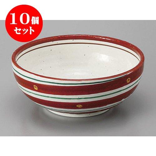 10個セット 組鉢組丼ボール 赤絵二色渦6.5鉢 [19.6 x 7.5cm] 【料亭 旅館 和食器 飲食店 業務用 器 食器】   B01N6SZBJP