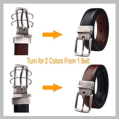 "Men's Belt, Bulliant Leather Reversible Belt 1.25"" For Mens Dress Casual Golf Belt,One Reverse for 2 Colors"