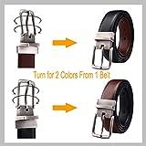 """Mens Belt, Bulliant Leather Reversible Belt 1.25"""",One Belt Reverse for Two Colors"""