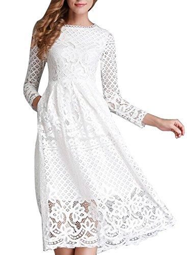 Minetom Damen Kleid Lange Ärmel Sommerkleid Spitze Elegant Abendkleid Partykleid Maxi Kleid Weiß DE 44