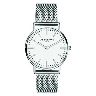 Liebeskind Berlin Damen Analog Quarz Uhr mit Edelstahl, Steel, silber-weiß 8