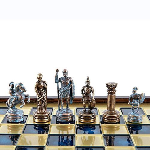 Manopoulos Greek Roman Army Chess Set – Blue&Copper – Wooden Case – Blue Board