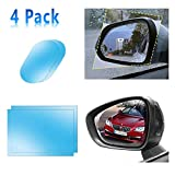 Car Motorcycle Rearview Mirror and Side Window Films (Rec+Oval)—4 Pack(5.7x3.9Inch+5.9x7.9Inch) Universal Rainproof Car Rear View Mirror Window Clear Nano Car Anti Fog Anti-Glare,Anti-Scratch Protective Film