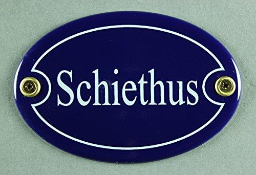 Buddel Bini Schild Emaille Türschild Schiethus 7 x 10 cm, oval, blau