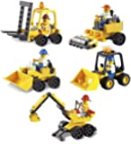 Xipoo 5-in-1 Construction Engineering Series, Building Block Play Set, 180 Pieces, 6 Years and Up