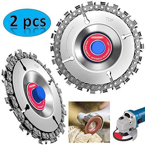 LETBUY 2pcs Circular Saw Blade Cutter Tool, Cordless Saw Blades Cutter for 100/115 Angle Grinder, Disc Plunge Wood Cut Wheel, Chain 22 Teeth Fine Cutting Set Carbide Chop Saws (4 Inch Wood Cutting Blade For Angle Grinder)