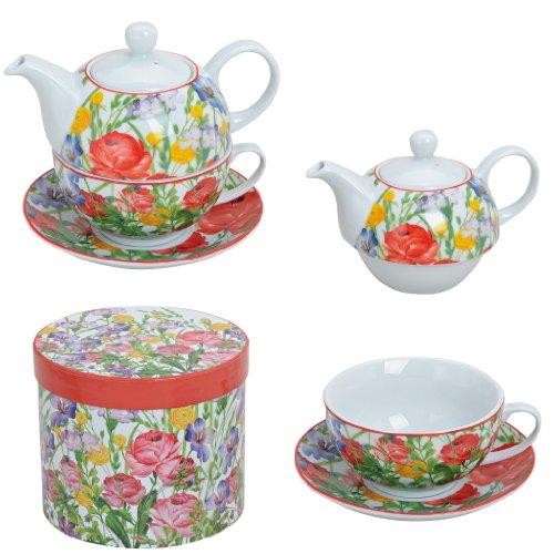 Tea for one Set Blumen Teekanne Porzellan mit Tasse und Untertasse in Geschenkbox
