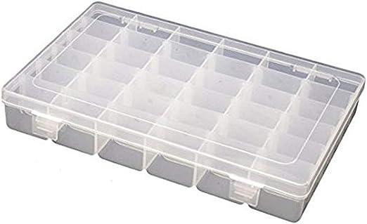 Sasitober Caja de almacenamiento de plástico con 36 compartimentos, para joyas, elementos electrónicos, organizador con separadores ajustables, como bolsas de cosméticos, cajas de almacenamiento, etc.: Amazon.es: Hogar