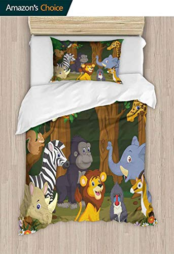 Lio Duvet Covers - Animal Bedding Sets Duvet Cover Set, Cartoon Style Elephant Gazelle Giraffe Gorilla Lion Animals Illustration, Bedding Set for Kids,Boys and Teens,59 W x 78 L Inches, Brown and Fern Green