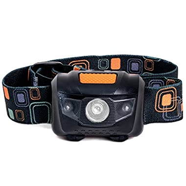 LED Headlamp - Great for Camping, Hiking, Kids, and Dog Walking. One of the Lightest (2.6 oz) Headlight. Best Flashlight. Water and Shock Resistant with Red Strobe. 3 AAA Duracell Batteries Included.