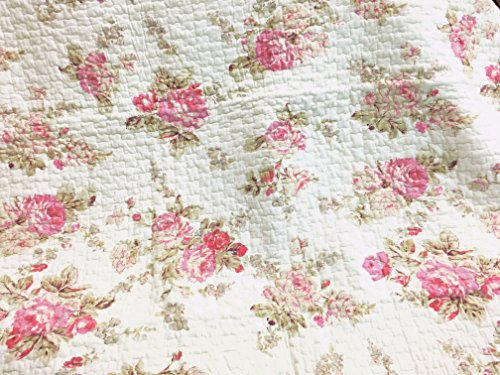 Cozy Line Home Fashions NEW Arrival ! Romantic Spring Peony Shabby Chic Pink Ivory Floral Flower Printed Reversible Quilted Throw Blanket 100% COTTON Gifts for Her/Women (Peony)