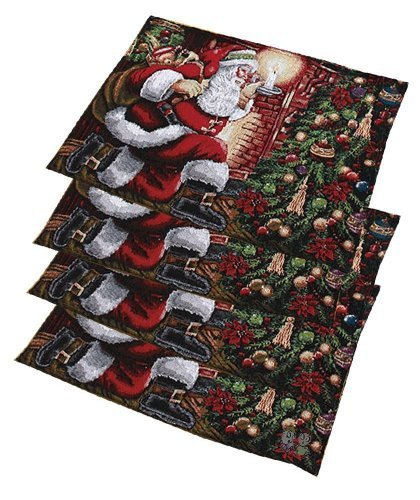 - Santa Christmas Holiday Tapestry Placemats Set of 4