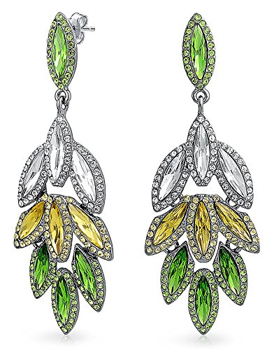 Gunmetal Plated Brass Pave Crystal Leaf Chandelier Earrings