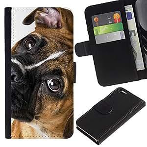 EJOY---La carpeta del tirón la caja de cuero de alta calidad de la PU Caso protector / Apple Iphone 6 / --Boxer canino casta Mascota Ojos Hocico