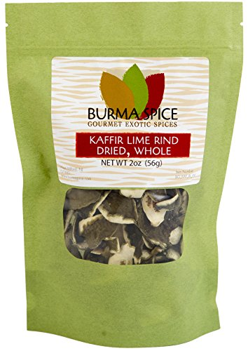 Dried Kaffir Lime Rind, used in Thai Cuisine from the Citrus Hystrix plant, Makrut, Kosher (2oz.)