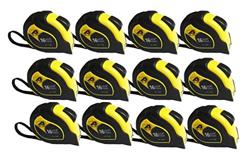 12 Items JH-576 Professional Self-lock 16-Foot by 3/4-Inch Measure Tape Yellow/Black Two Pause Buttons