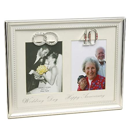 40th Then Now Anniversary Photo Frame Amazoncouk Kitchen Home