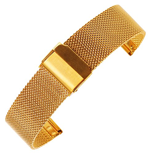 - 18mm Gold 304 Stainless Steel Mesh Watch Bracelet Chain Link Mesh Band Replacement for Business Watches