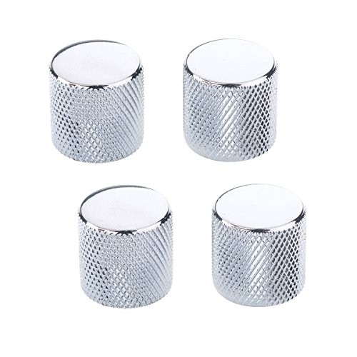 Musiclily Metric Metal Flat Top Knurled Control Knobs for Fender Telecaster Electric Guitar or Bass,Chrome(Pack of 4)