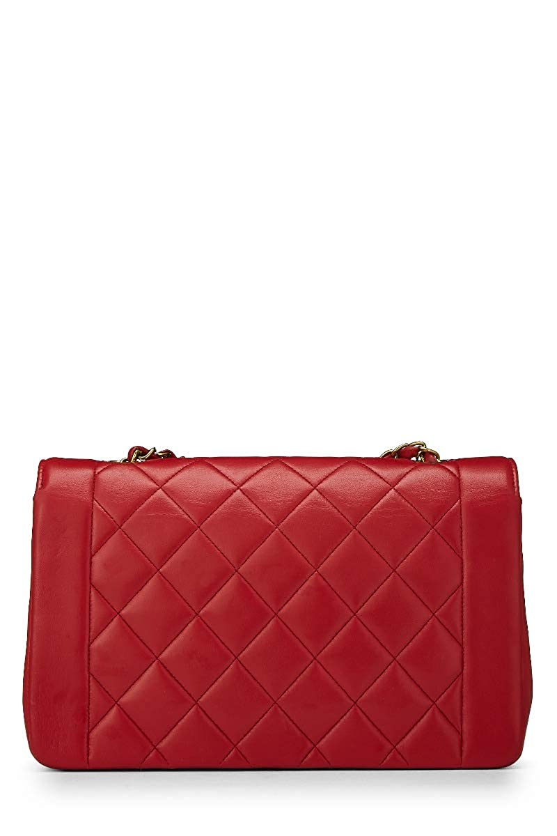 b95e392b8932 CHANEL Red Quilted Lambskin Diana Flap Medium (Pre-Owned): Handbags:  Amazon.com