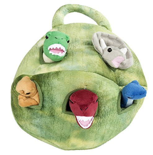 Plush Dinosaur House with Dinosaurs - Five Stuffed Animal Dinosaurs in Play Dinosaur Carrying Case