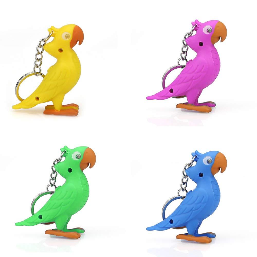 Emerayo Parrot Light Up LED Novelty Keychain Flashlight with Sound (Blue, One)