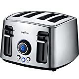 Hephaestus 4 Slice Bagel Toaster Extra Wide Slot and LED Display Adjustable Temperature Control with Removable Crumb Tray Brushed Stainless