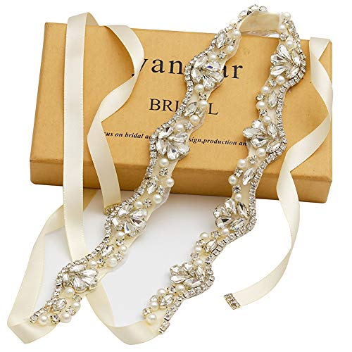 yanstar Silver Rhinestone Crystal Pearls Wedding Bridal Belts with Ivory Ribbon Sashes for Bridal Bridesmaid Gowns (Factory Shops Furniture)