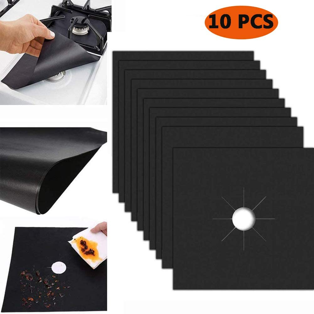 "Stove Burner Covers 10 Pack - Stove Top Cover 0.2 mm Reusable Size 10.6""x 10.6"" Double Thickness Non-stick Easy Clean Gas Stove Burner Liners for Electric Stove Gas Burners, Black by POLILI"