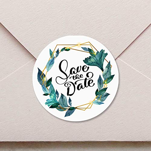 120 x Save the Date Stickers Envelope Seal Geometric Floral Wedding Collection Wedding Invitation Labels Chic Party Invitation Stickers 1.6 inch