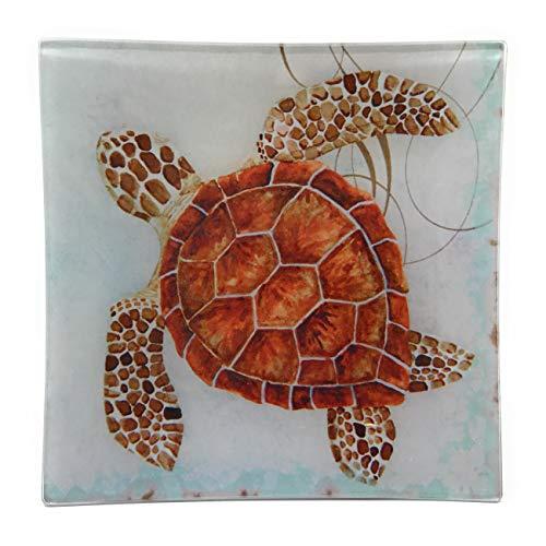 Value Arts Coastal Sea Turtle Glass Decor Dish Tray, 5.75 Inches Square, Coin Soap Catchall Keys Art Glass Soap Dish