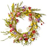 National Tree 24 Inch Easter Wreath with Mixed Flowers, Butterflies and Eggs (GAE30-24WEM)