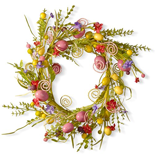 (National Tree 24 Inch Easter Wreath with Mixed Flowers, Butterflies and Eggs)