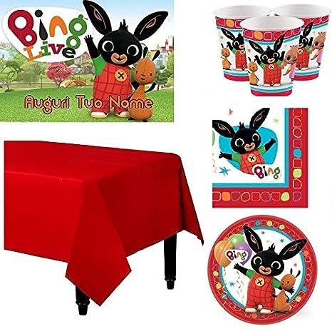 per 8 Persone Kit Coordinato per Feste E Compleanno Coniglietto Bing BIGIEMME S.R.L Piatti-Bicchieri-tovaglioli-Tovaglia-cialda per Torte Personalizzabile