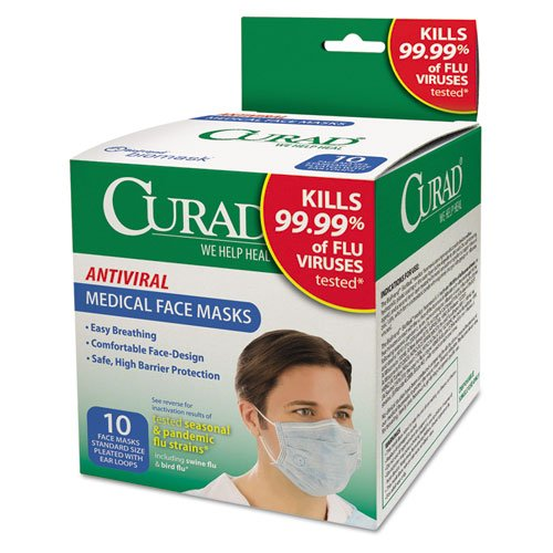 Antiviral Medical Face Mask, Pleated, 10/Box, Sold