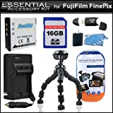 Essentials Accessory Kit Includes 16GB High Speed SD Memory card + Extended Replacement NP-50 (1100 mAH) Battery + Ac/Dc Rapid Travel Battery Charger + USB 2.0 High Speed Card Reader + Gripster + More For Fujifilm FinePix Real 3D W3