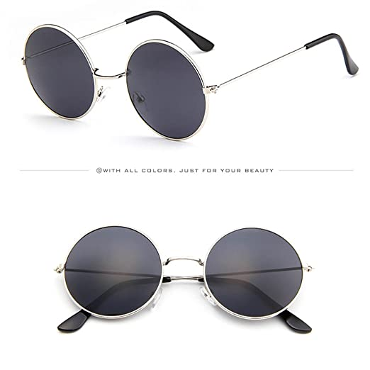 0ab010e190 KCPer Women Men Vintage Retro Classic Glasses Unisex Driving Round Frame  Metal Candy Color Sunglasses Eyewear