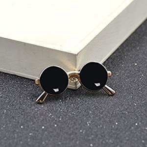 Mens Novelty Glasses Shape Tie Clip Golden Sunglasses Tie Bar Clasp Clip Pin 1 Pc