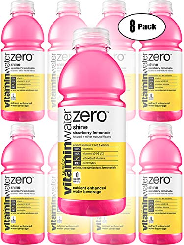 Vitamin Water Zero, Strawberry Lemonade - Shine, 20oz Bottle (Pack of 8, Total of 160 Oz)