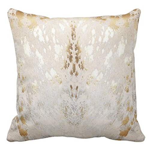 Emvency Throw Pillow Cover Cowhide White Gold Metallic Acid