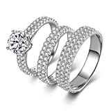 AmDxD Jewelry Silver Plated Women Promise Customizable Rings Triple Promise Rings CZ Size 7.5