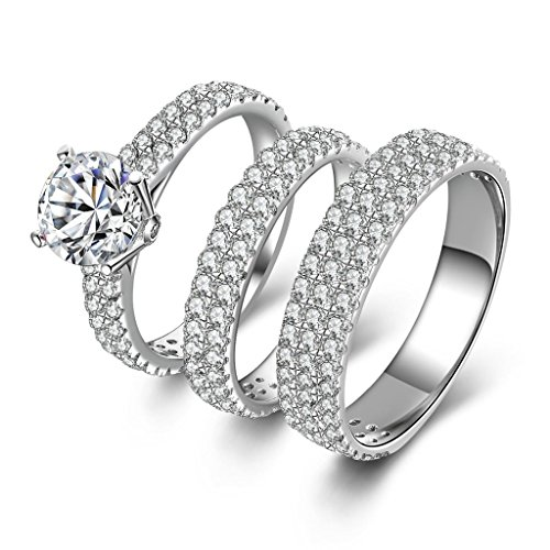 AmDxD Jewelry Silver Plated Women Promise Customizable Rings Triple Promise Rings CZ Size 11 by AMDXD